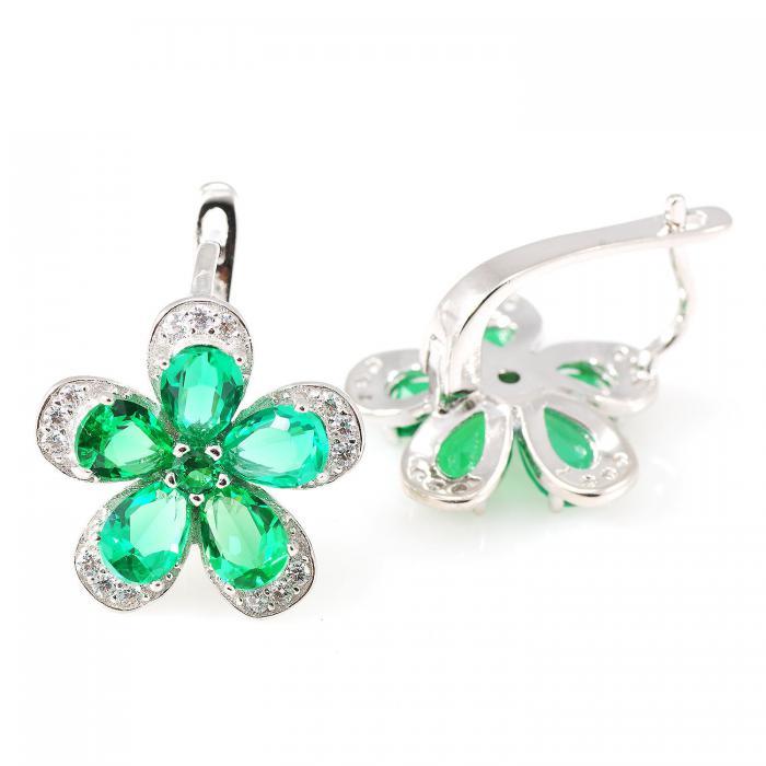 Russian Smarald Flowers Colier şi Cercei 10 carate & Silver 925 2