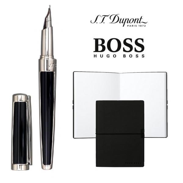 Set S.T. Dupont Luxury Fountain Pen si Note Pad Black Hugo Boss 0