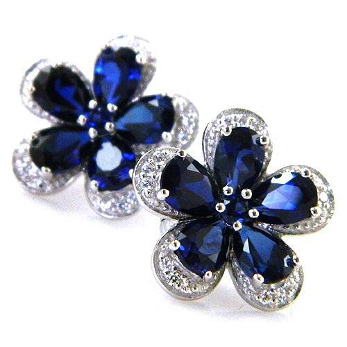 Safir Flowers Colier şi Cercei 10 carate & Silver 925-big