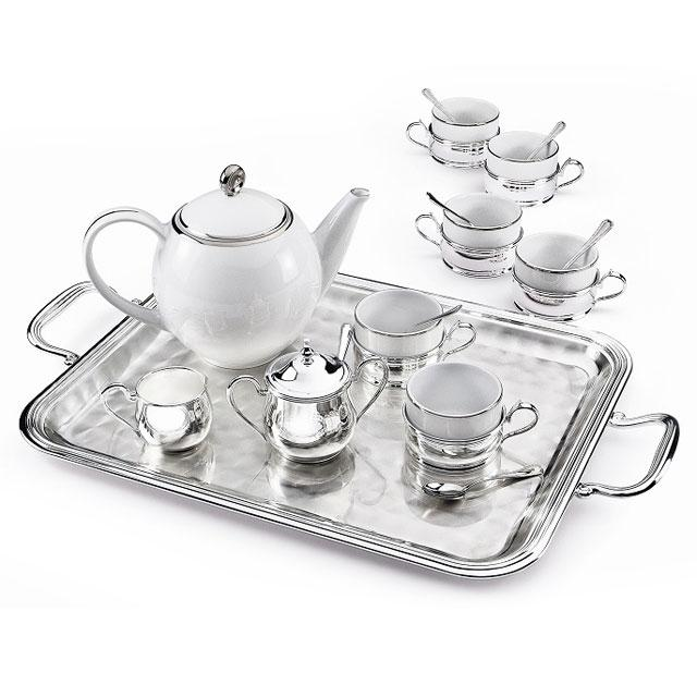 Sera Tray Chinelli Silver Plated Set Cafea/ Ceai by Chinelli - made in Italy-big