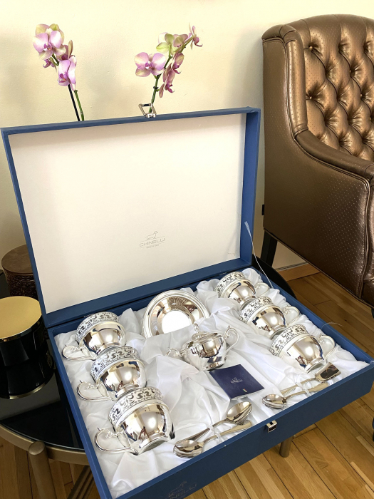Serviciu de Cafea 6 Persoane Silver Plated by Chinelli - made in Italy [3]
