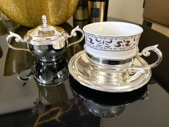 Serviciu de Cafea 6 Persoane Silver Plated by Chinelli - made in Italy [4]