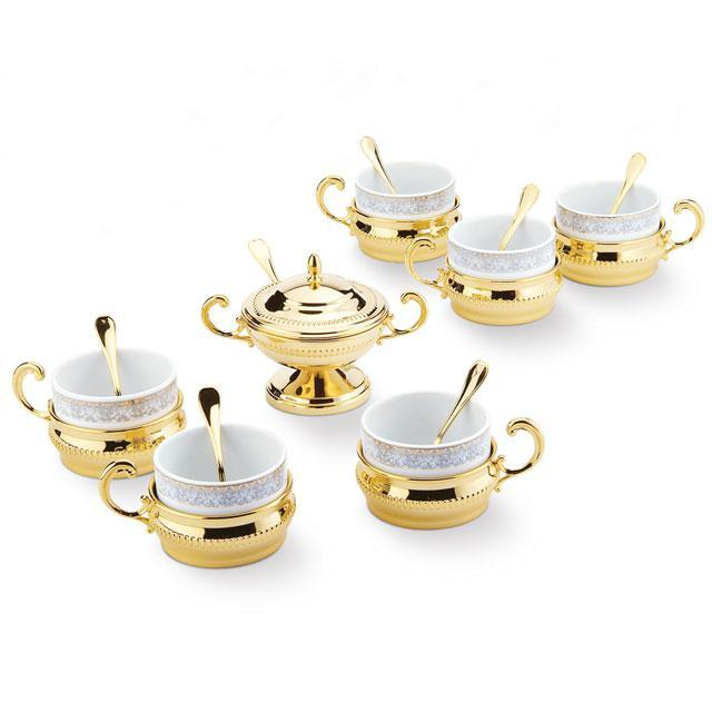 Serviciu de Cafea/ Ceai 6 Persoane Gold Plated by Chinelli - made in Italy 1