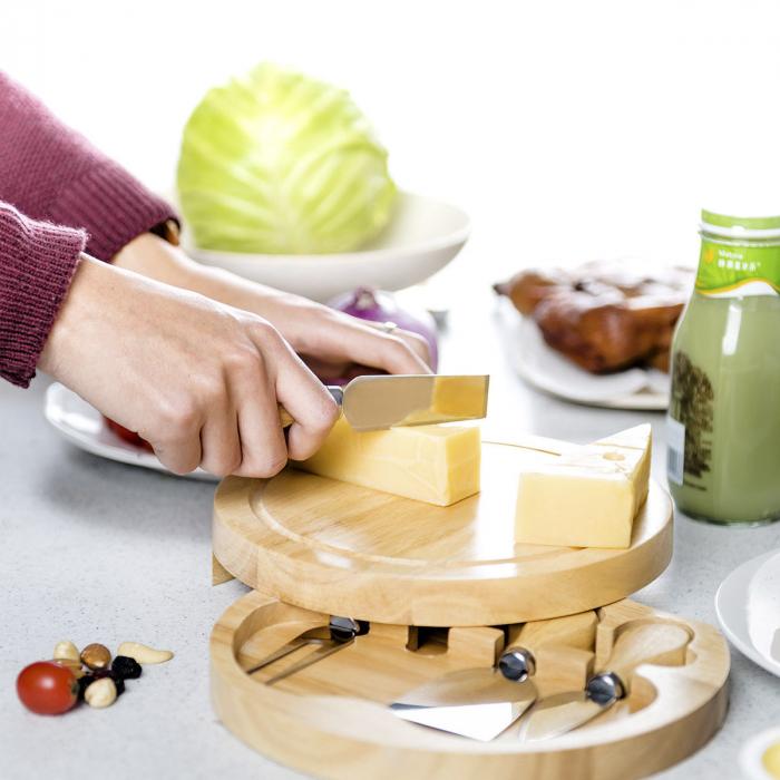 Set 4 cuțite pentru brânză Professional si suport lemn [7]