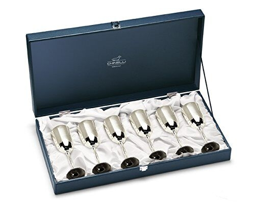 Set 6 pahare placate cu argint Fluet RIGATO Metallo by Chinelli,  made in Italy 0