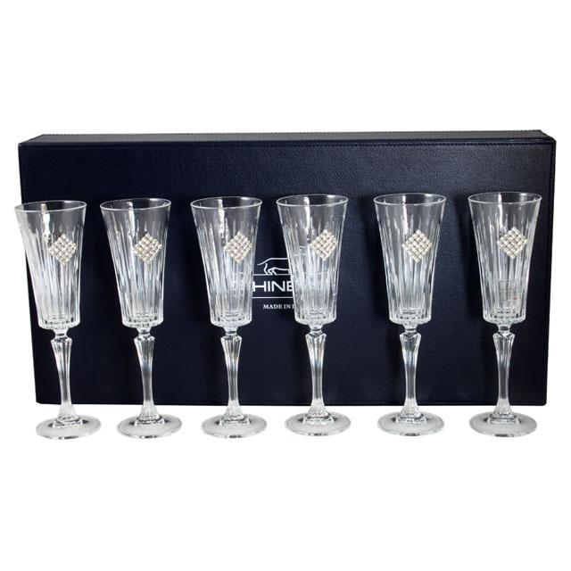 Set 6 pahare cu cristale Regina Swarovski Rombo by Chinelli - made in Italy 3