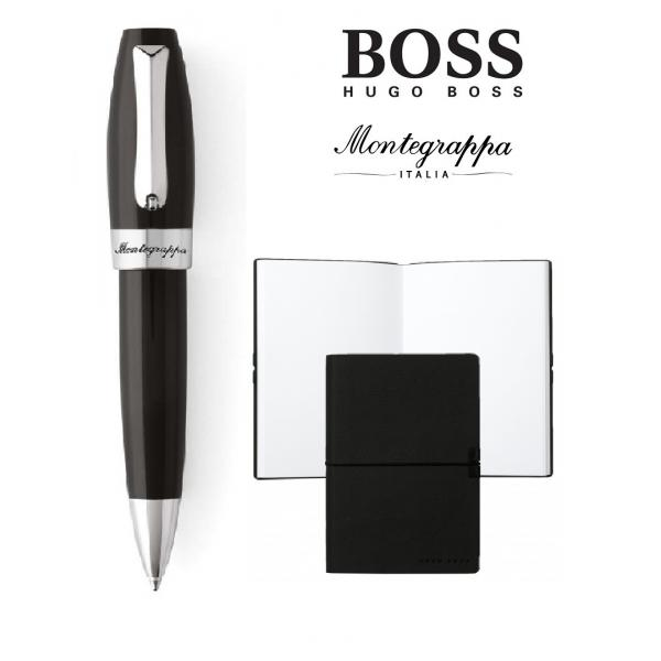 Set ballpoint Fortuna Black Steel Montegrappa si Note Pad Hugo Boss-big