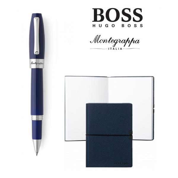 Set Ballpoint Fortuna Blue Palladium Montegrappa si Note Pad Hugo Boss-big