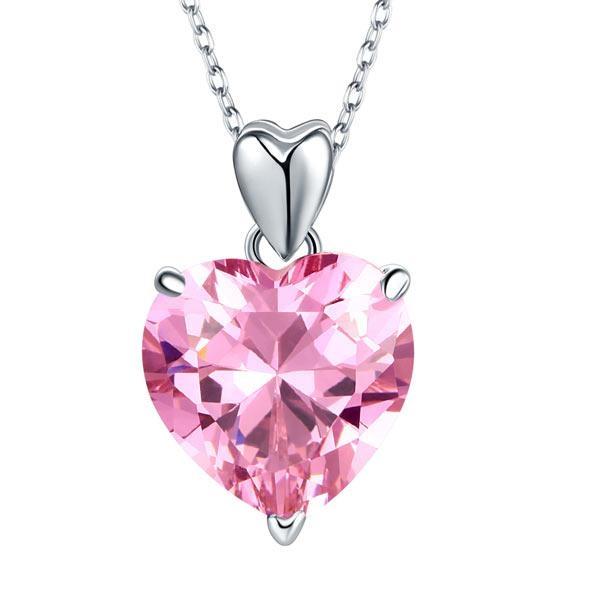 Set Borealy Argint Cercei şi Colier Pink Heart 6