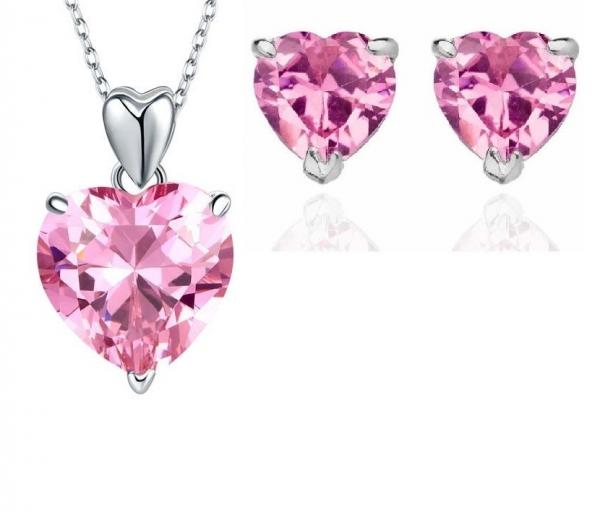 Set Borealy Argint Cercei şi Colier Pink Heart 0