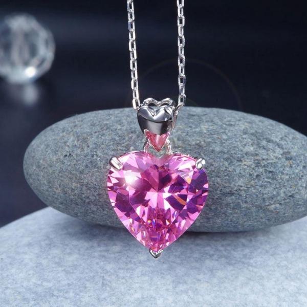 Set Borealy Argint Cercei şi Colier Pink Heart 4
