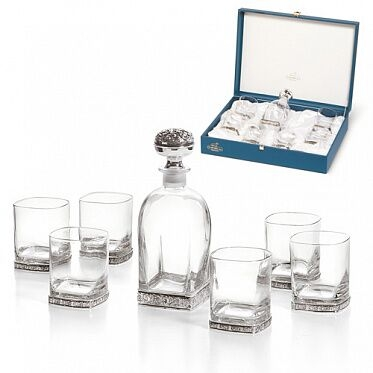 Set Whisky SILVER BORDURA 6 pahare placat cu argint by Chinelli, made in Italy 3