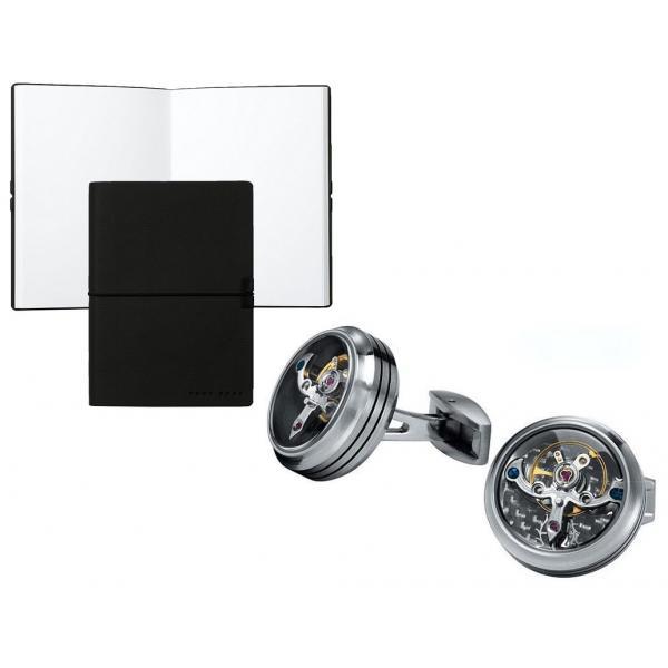 Set Butoni Tourbillon Luxury Silver si Note pad Black Hugo Boss - personalizabil 0