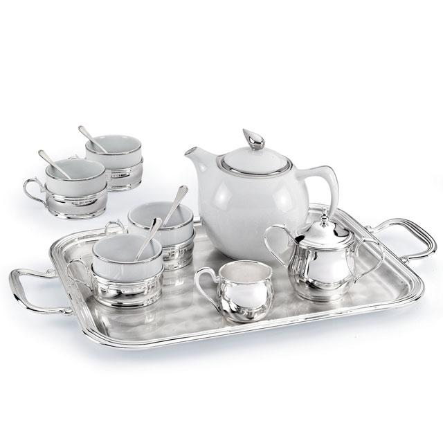 Set Ceai 4 persoane Silver Plated Home Chinelli - made in Italy 0