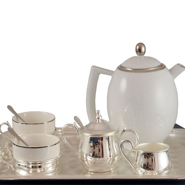 Set Ceai 4 persoane Silver Plated Home Chinelli - made in Italy-big
