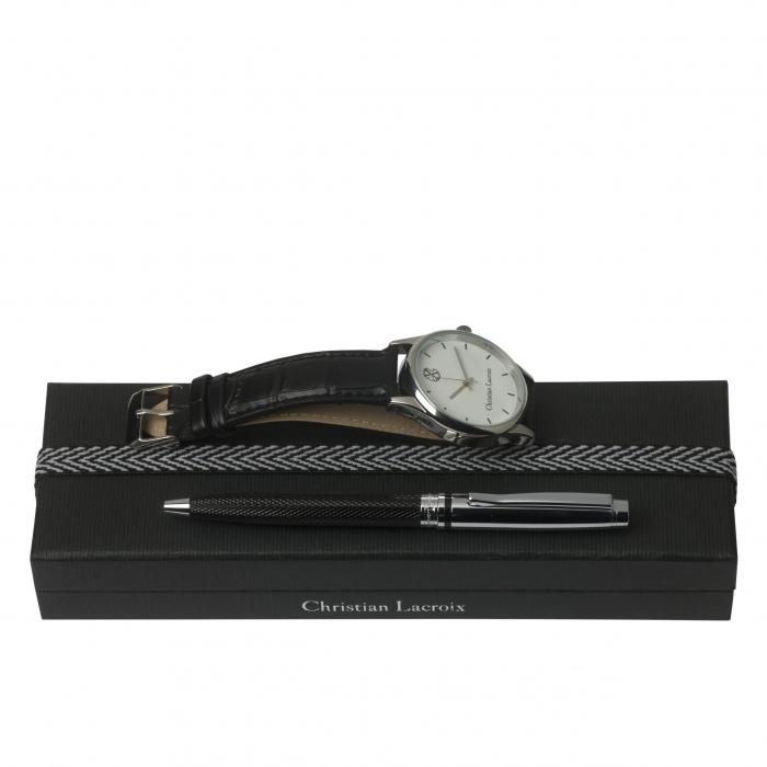 Ceas Christian Lacroix, Pix Treillis Desk Christian Lacroix si Butoni Elegant Round Silver by Borealy 0