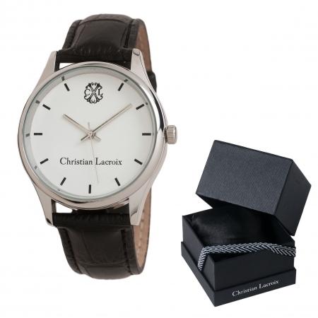 Ceas Christian Lacroix, Pix Treillis Desk Christian Lacroix si Butoni Elegant Round Silver by Borealy 4