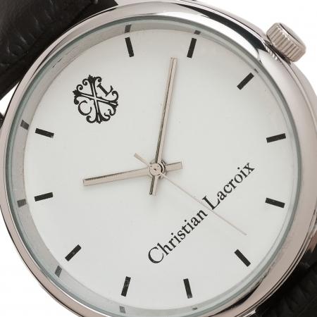 Ceas Christian Lacroix, Pix Treillis Desk Christian Lacroix si Butoni Elegant Round Silver by Borealy 3