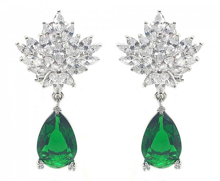 Set Cercei si Colier Borealy Glamorous Diva Smarald 3