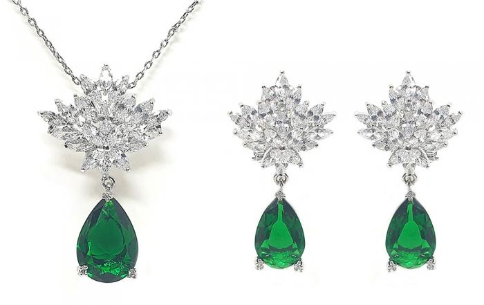 Set Cercei si Colier Borealy Glamorous Diva Smarald 0