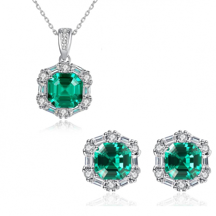 Set Colier şi Cercei Regina Emerald 0