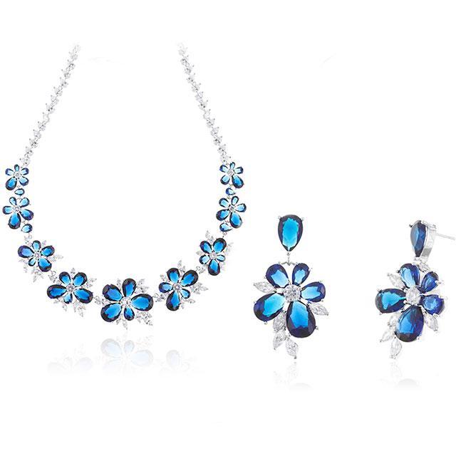 Set Colier Cercei Blue Iris Hope by Borealy 1