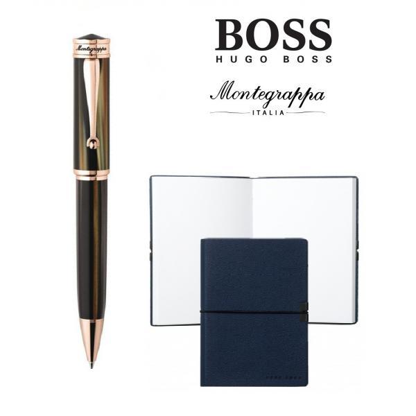Set Ducale Brown Emperador Rose Gold Ballpoint Montegrappa si Note Pad Hugo Boss-big