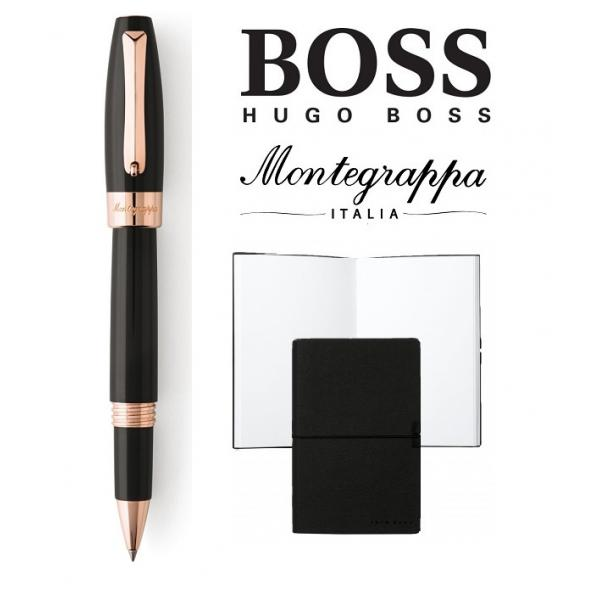 Set Fortuna Black Rose Gold Rollerball Montegrappa si Note Pad Hugo Boss-big