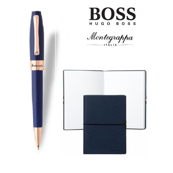 Set Fortuna Blue Rose Gold Ballpoint Montegrappa si Note Pad Hugo Boss 0