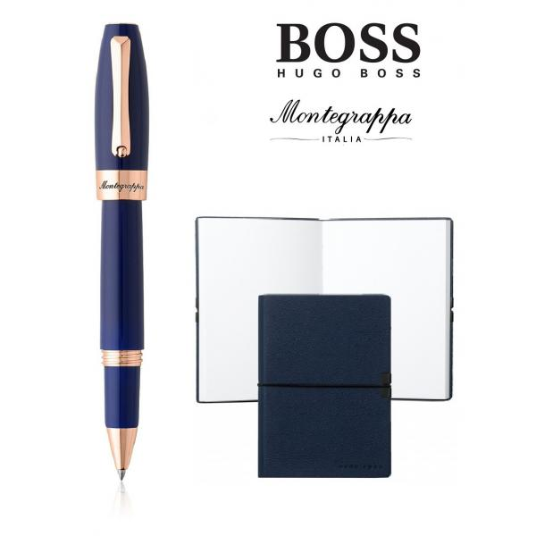 Set Fortuna Blue Rose Gold Rollerball Montegrappa si Note Pad Hugo Boss 0