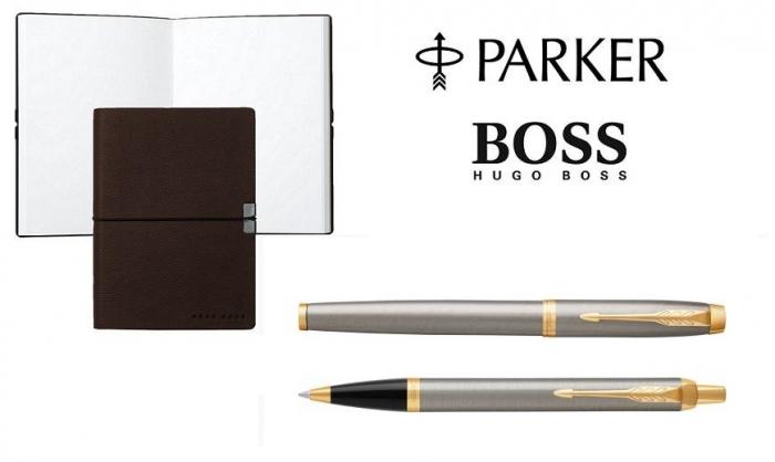 Caseta cadou Pix & Roller Parker Accesorii Aur 23 kt. Brushed Metal si Note Pad Hugo Boss - personalizabil 0