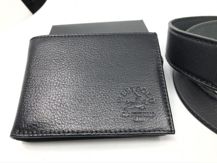 Leather Set: WestPolo Borseta, Portofel si Curea Negre Piele Naturala 5