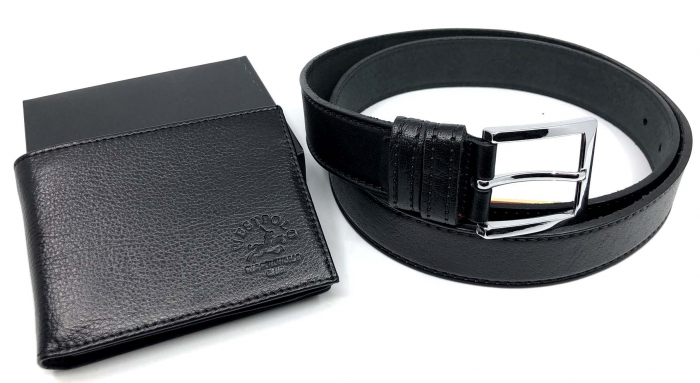 Leather Set: WestPolo Borseta, Portofel si Curea Negre Piele Naturala 2
