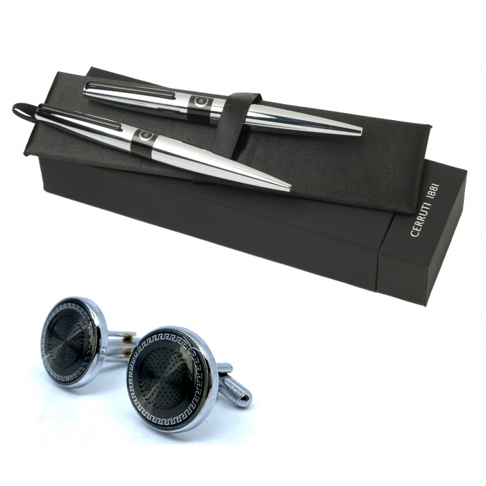 Set  Frank Chrome (ballpoint pen & rollerball pen) Cerruti 1881 & Butoni Elegant Round Silver 0