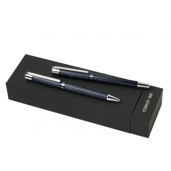 Set Business Ballpoint & Rollerball pen Cerruti 1881 & Butoni Elegant Round Silver 1