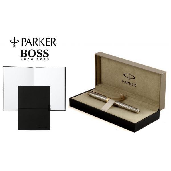 Set Stilou Sonnet Sterling Silver Parker argint masiv & penita aur si Note Pad Black Hugo Boss 0