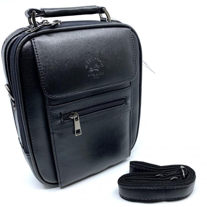 Leather Set: WestPolo Borseta, Portofel si Curea Negre Piele Naturala 4