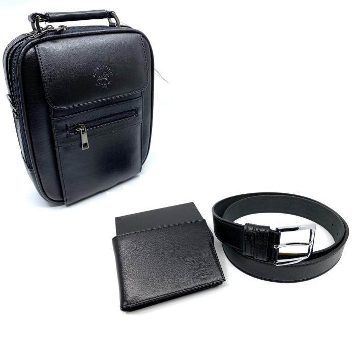 Leather Set: WestPolo Borseta, Portofel si Curea Negre Piele Naturala 1