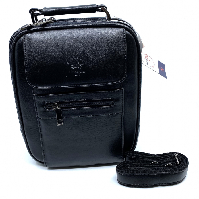 Leather Set: WestPolo Borseta, Portofel si Curea Negre Piele Naturala 3