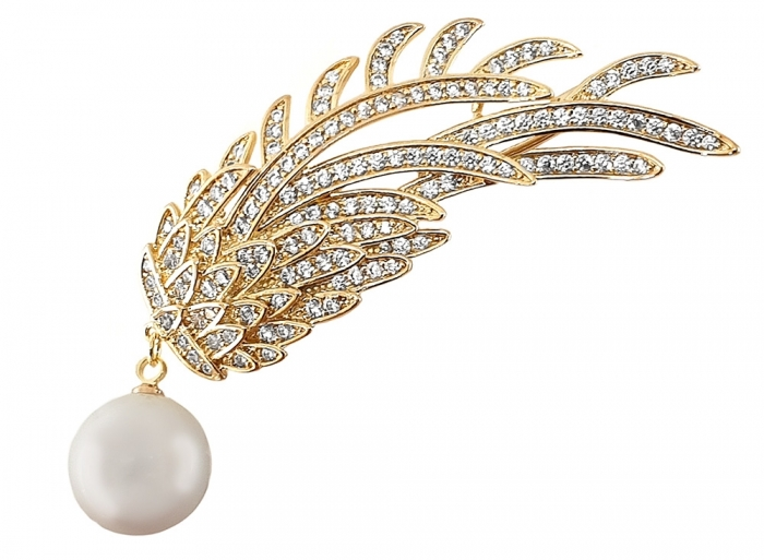 Set White Flower Ceas Cacharel si Brosa Gold Branch Pearl by Borealy-big