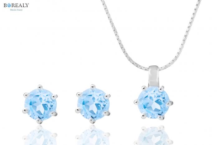 Bleu Ciel Topaz  4 carate Cercei şi Colier - pietre preţioase naturale 0