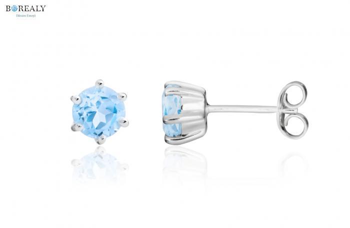 Bleu Ciel Topaz  4 carate Cercei şi Colier - pietre preţioase naturale 1