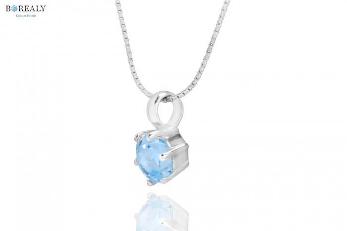 Bleu Ciel Topaz  4 carate Cercei şi Colier - pietre preţioase naturale 2