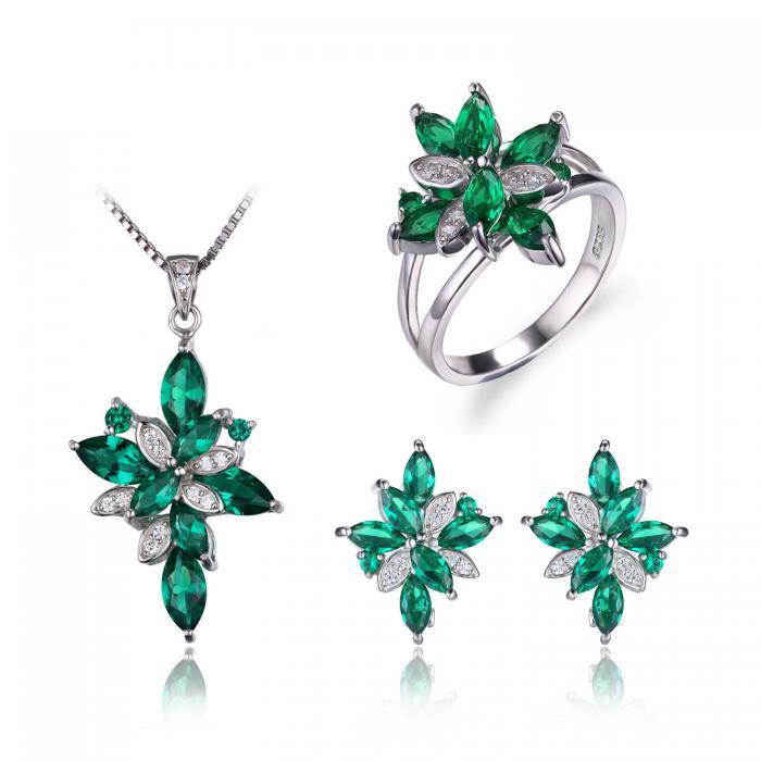 Borealy Precious Smarald Set Inel, Pandantiv si Cercei Argint 925 0