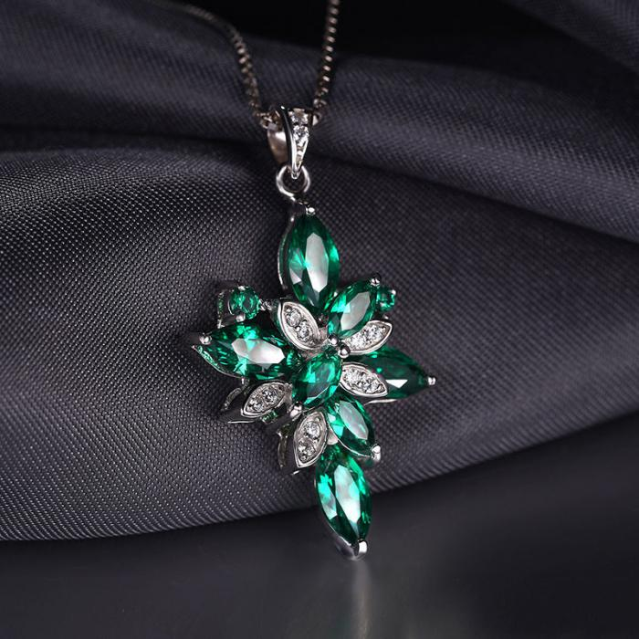 Borealy Precious Smarald Set Inel, Pandantiv si Cercei Argint 925 3