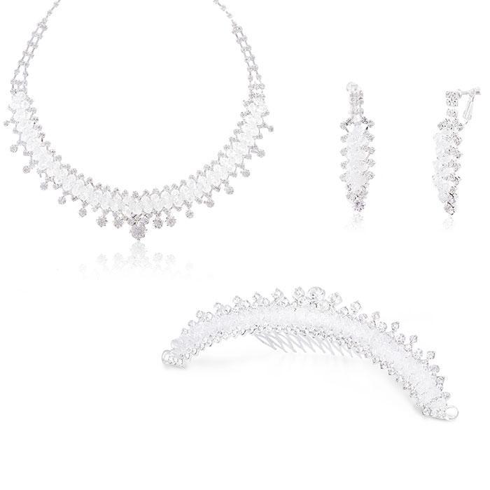 Set Borealy Cercei, Colier si Tiara White Glow 0