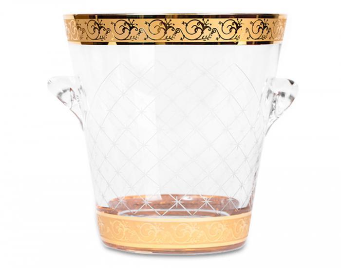Frapieră şi Pahare Cristal Aurite Prestige Cuvee Credan, made in Spain 2