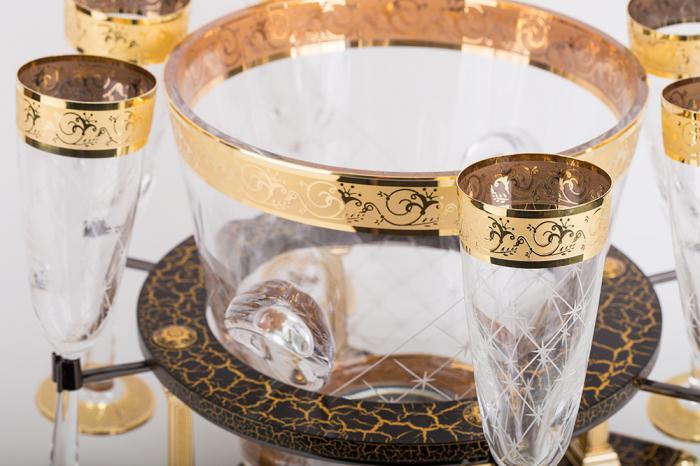 Frapieră şi Pahare Cristal Aurite Prestige Cuvee Credan, made in Spain 1