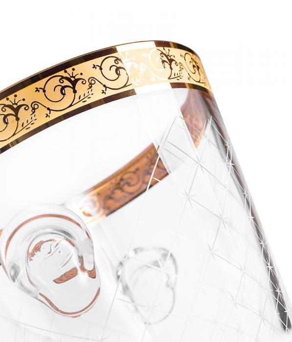 Frapieră şi Pahare Cristal Aurite Prestige Cuvee Credan, made in Spain 3