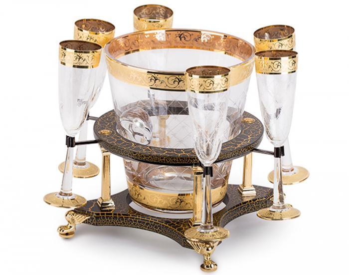 Frapieră şi Pahare Cristal Aurite Prestige Cuvee Credan, made in Spain 0